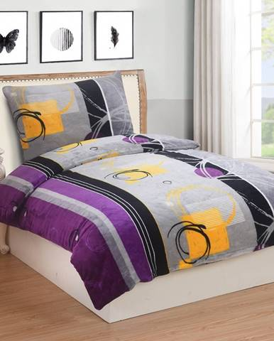 Obliečky mikroplyš Angelika fialová, 140 x 200 cm, 70 x 90 cm