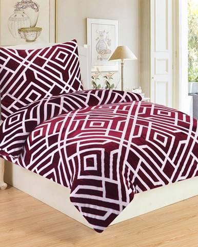 Jahu Obliečky mikroplyš Labyrint Wine, 140 x 200 cm, 70 x 90 cm