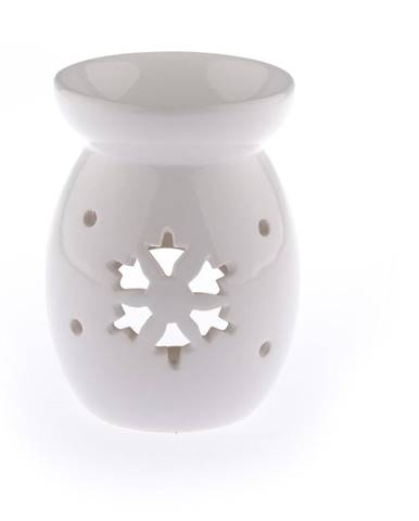 Biela keramická aromalampa s vločkou Dakls