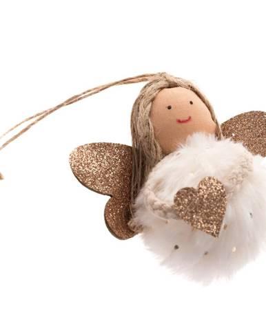 Biela textilná závesná ozdoba v tvare anjela Dakls, dĺžka 9 cm