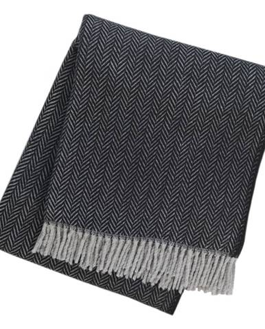 Čierny pléd s podielom bavlny Euromant Skyline II, 140 x 160 cm