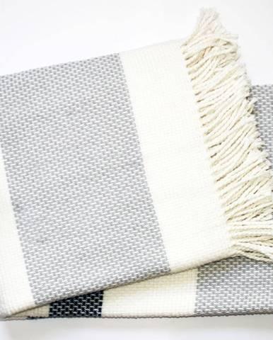 Svetlosivý pléd s podielom bavlny Euromant Granite, 140 × 160 cm