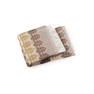 Hnedý pléd s podielom bavlny Euromant Moss, 140 × 160 cm