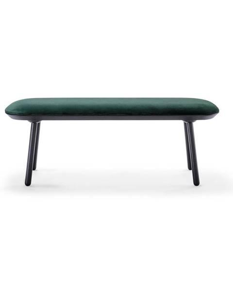 EMKO Zeleno-čierna zamatová lavica EMKO Naïve, 140 cm