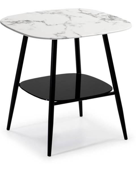 Marckeric Bielo-čierny konferenčný stolík so sklenenou dosky v mramorovom dekore Marckeric Alina