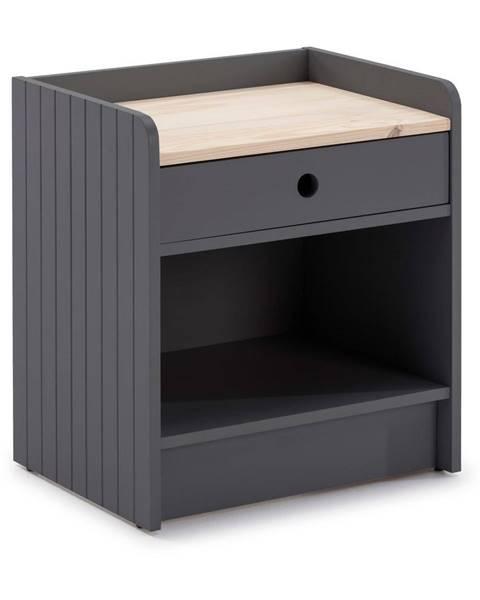 Marckeric Sivý nočný stolík s doskou z borovicového dreva Marckeric Monte