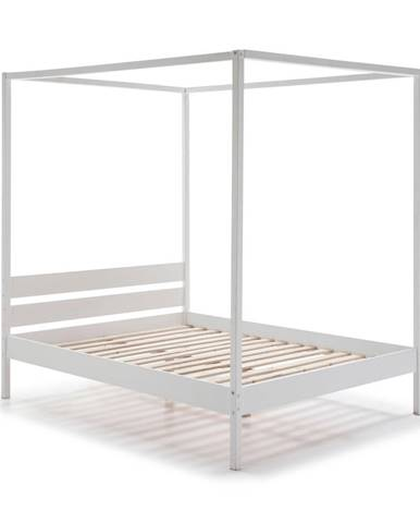 Biela drevená posteľ Marckeric Dossel, 160 x 200 cm