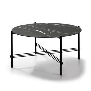 Čierny konferenčný stolík so sklenenou doskou v mramorovom dekore Marckeric, ø 84 cm