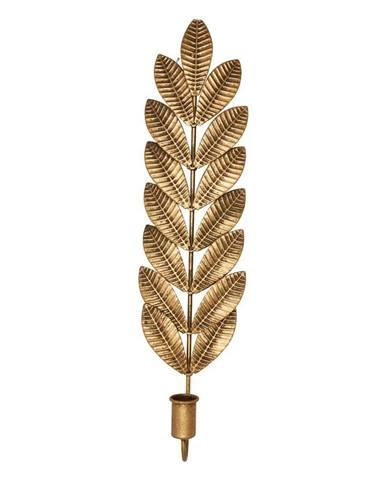 Kovový svietnik v zlatej farbe Green Gate Leaf, výška 50 cm