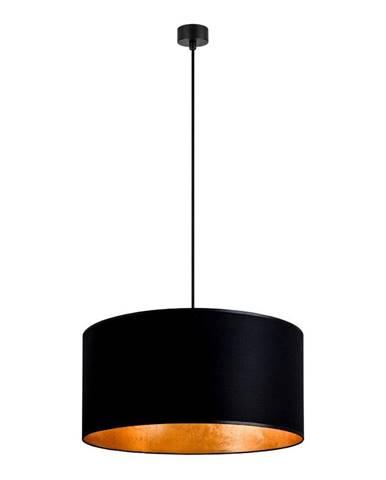 Čierne závesné svietidlo s vnútrom v zlatej farbe Sotto Luce Mika, ∅ 50 cm