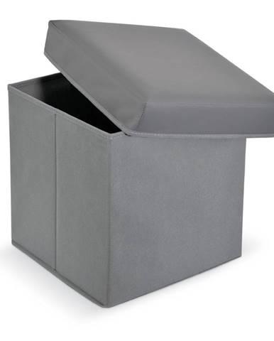 Sivá koženková podnožka s úložným priestorom Domopak