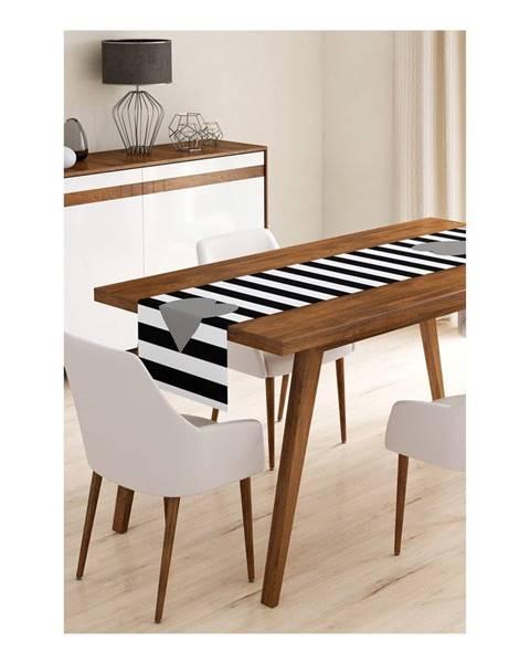 Minimalist Cushion Covers Behúň na stôl z mikrovlákna Minimalist Cushion Covers Stripes with Grey Heart, 45×145 cm