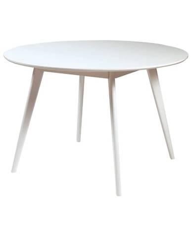 Biely jedálenský stôl s nohami z gumovníkového dreva Rowico YuRAi , ∅ 115 cm