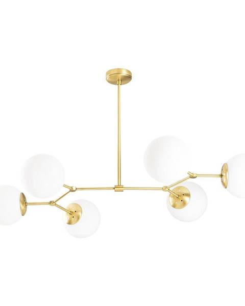 Opviq lights Závesné svietidlo pre 6 žiaroviek v zlato-bielej farbe Opviq lights Damar Horizontal