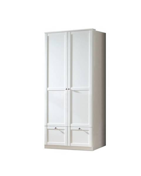 Sconto Šatníková skriňa VANNES biela, 2-dverová/2 zásuvky