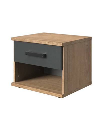 Nočný stolík MERSEY doskový dub/grafit