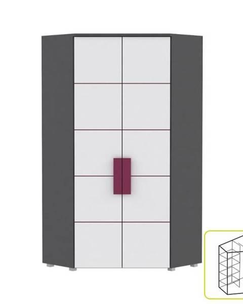 Kondela Skriňa rohová kombinovaná sivá/biela/fialová LOBETE 89