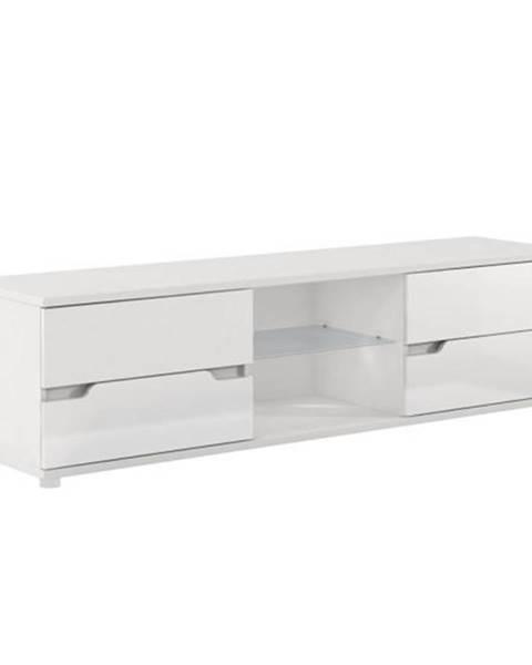 Kondela RTV stolík biela/biela s extra vysokým leskom ADONIS AS 30