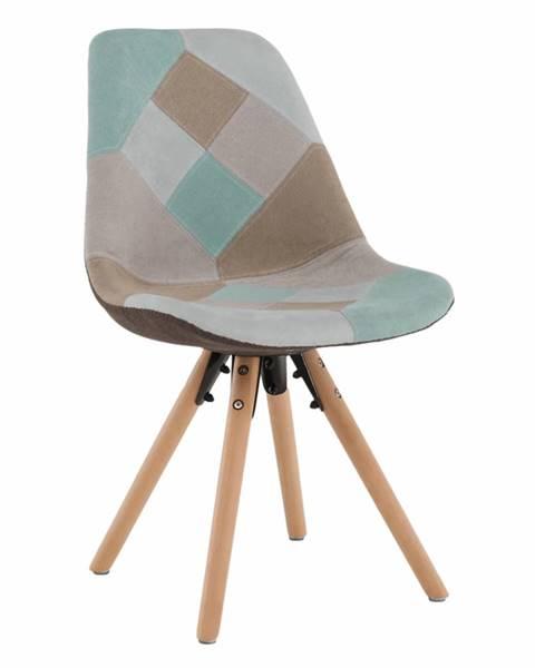 Tempo Kondela Jedálenská stolička patchwork mentol/hnedá GLORIA