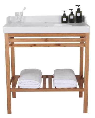 Stôl s keramickým umývadlom prírodná/biela SELENE TYP 6