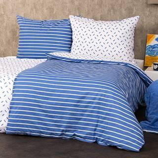 4Home Bavlnené obliečky Pruhy modrá, 160 x 200 cm, 70 x 80 cm