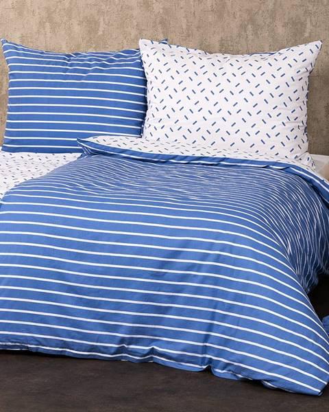 4Home 4Home Bavlnené obliečky Pruhy modrá, 220 x 200 cm, 2 ks 70 x 90 cm