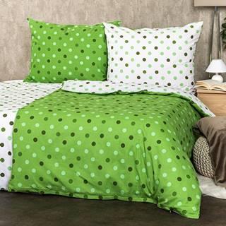 4Home Bavlnené obliečky Bodky zelená, 220 x 200 cm, 2 ks 70 x 90 cm