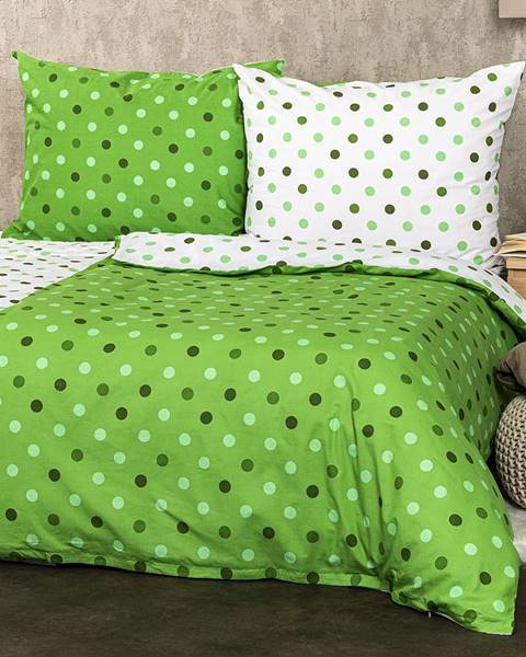 4Home 4Home Bavlnené obliečky Bodky zelená, 160 x 200 cm, 70 x 80 cm
