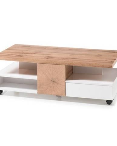 Konferenčný stolík CREVIN dub/biela matná