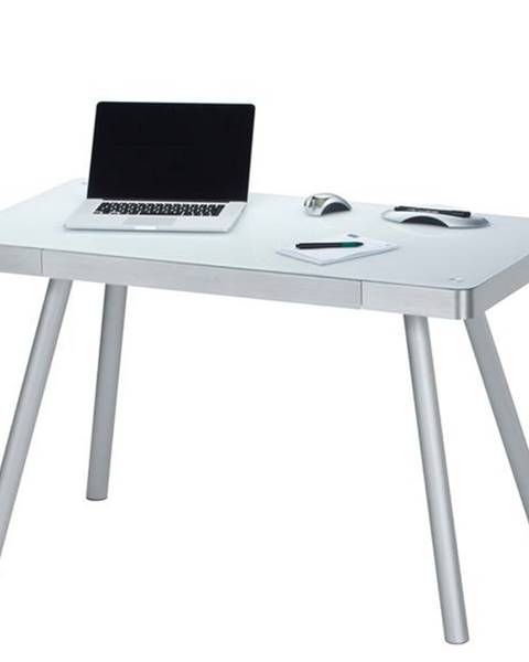 Sconto Počítačový stôl MAXWELL kov/biele sklo