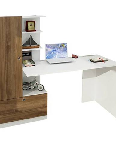 Písací stôl s regálom DOMINGOS orech/biela