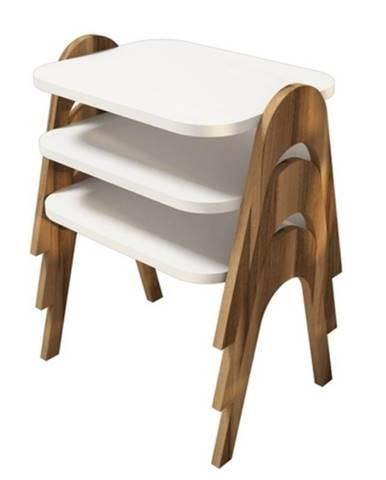 Servírovacie stolíky PARIS orech/biela