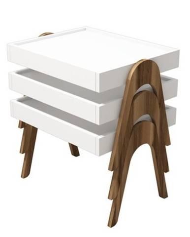 Servírovacie stolíky ROMA biela/orech