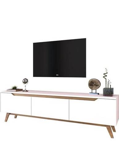 TV stolík QUINN biela/svetlý orech