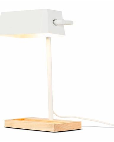 Biela stolová lampa s prvkami z jaseňového dreva Citylights Cambridge