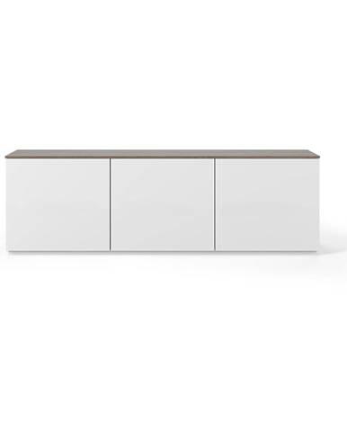 Biely matný televízny stolík so svetlohnedou doskou TemaHome Join, 180 × 57 cm