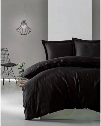 Čierne obliečky z bavlneného saténu Cotton Box Elegant, 200 x 200 cm