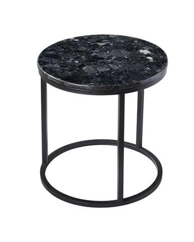 Čierny žulový stolík s podnožím v čiernej farbe RGE Crystal, ⌀ 50 cm