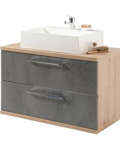 Umývadlová skrinka TROJA dub artisan/antracitová