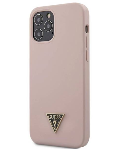 Guess Kryt na mobil Guess Silicone Metal Triangle na Apple iPhone 12 Pro