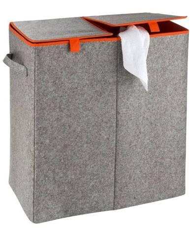 Sivo-oranžový dvojitý kôš na bielizeň Wenko Duo, 82 l
