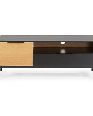 Čierno-hnedý TV stolík La Forma SAVOI, 120 x 50 cm