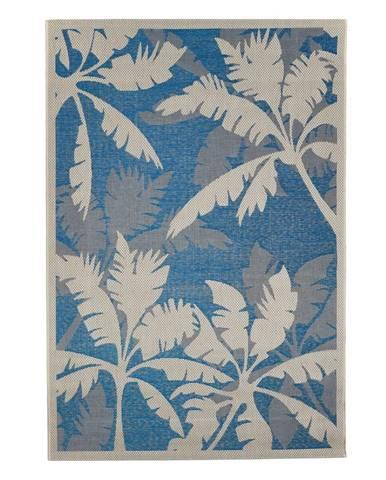 Modro-sivý vonkajší koberec Floorita Palms Blue,135x190cm