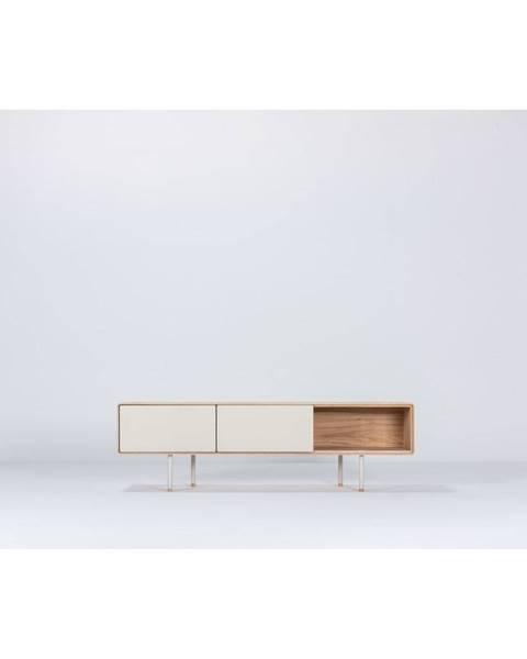 Gazzda Biely TV stolík z dubového dreva Gazzda Mushroom, šírka 160 cm