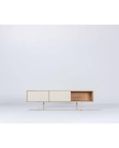Biely TV stolík z dubového dreva Gazzda Fina, šírka 160 cm
