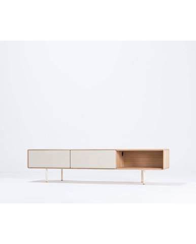 Biely TV stolík z dubového dreva Gazzda Fina, šírka 200 cm