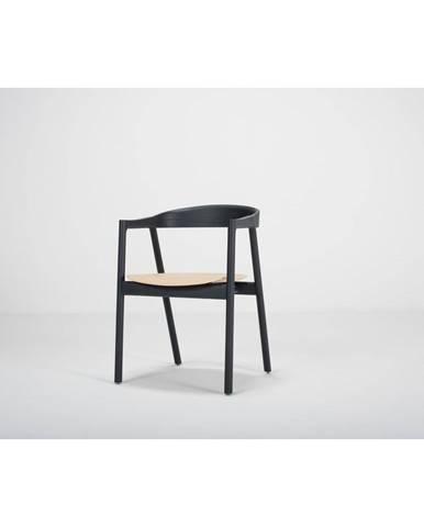 Čierna jedálenská stolička z dubového dreva Gazzda Muna