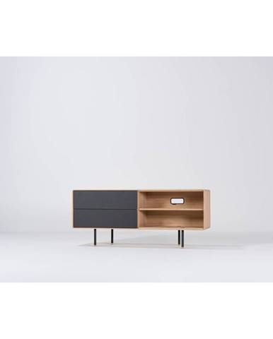 Čierny TV stolík z dubového dreva Gazzda Fina, šírka 150 cm