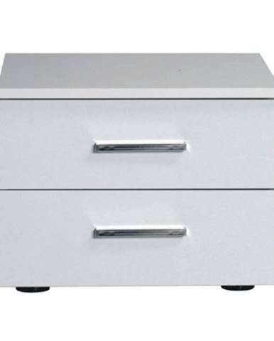 Nočný stolík 2 kusy biela/vysoký biely lesk HG ASIENA
