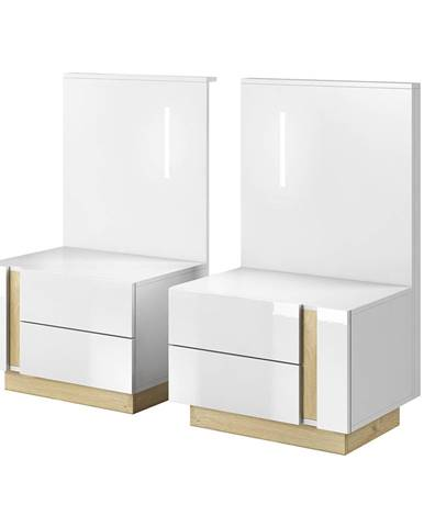 2 nočné stolíky biela/dub grandson/biely lesk CITY